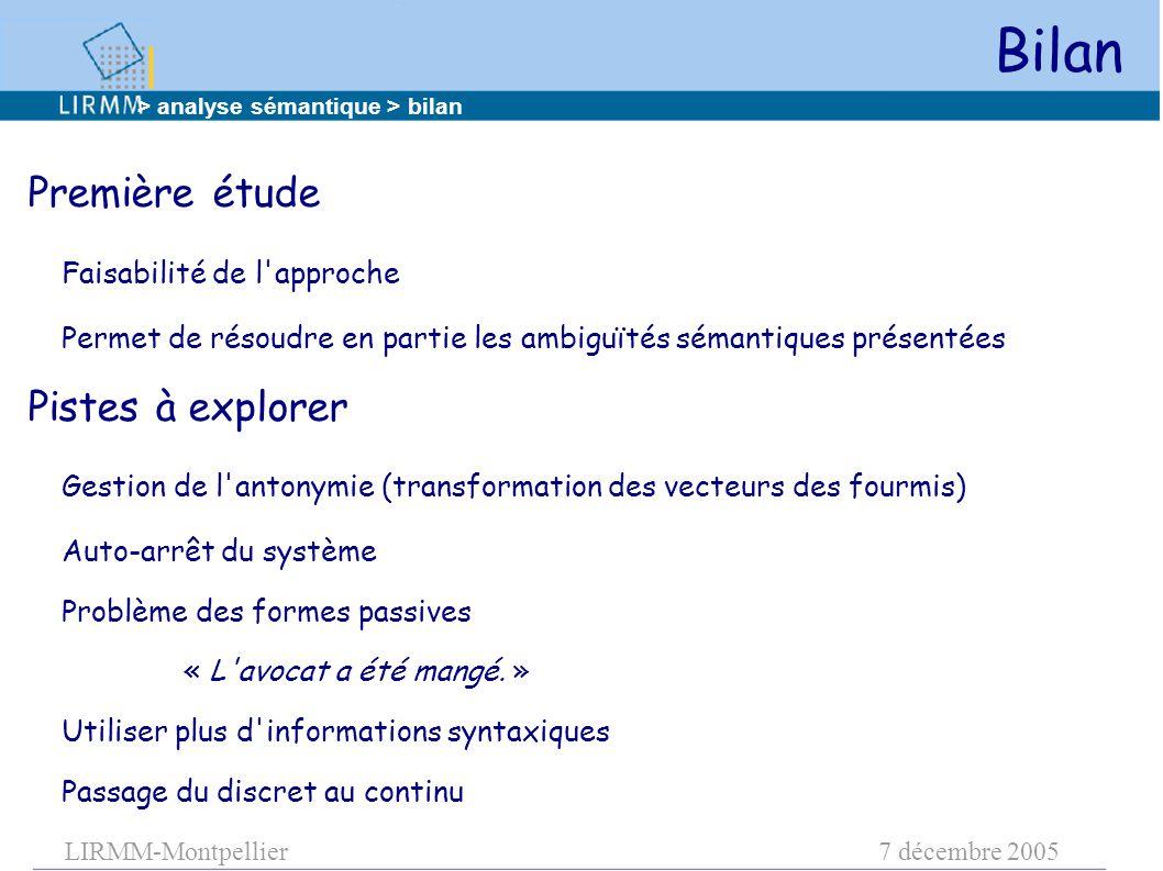 LIRMM-Montpellier7 décembre 2005 Bilan Première étude Faisabilité de l'approche Permet de résoudre en partie les ambiguïtés sémantiques présentées Pis