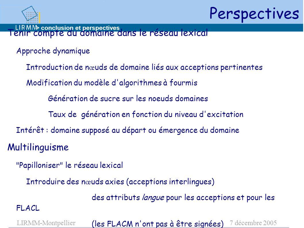 LIRMM-Montpellier7 décembre 2005 Tenir compte du domaine dans le réseau lexical Approche dynamique Introduction de n œ uds de domaine liés aux accepti