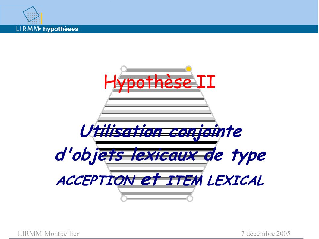 LIRMM-Montpellier7 décembre 2005 Hypothèse II Utilisation conjointe d objets lexicaux de type ACCEPTION et ITEM LEXICAL > hypothèses