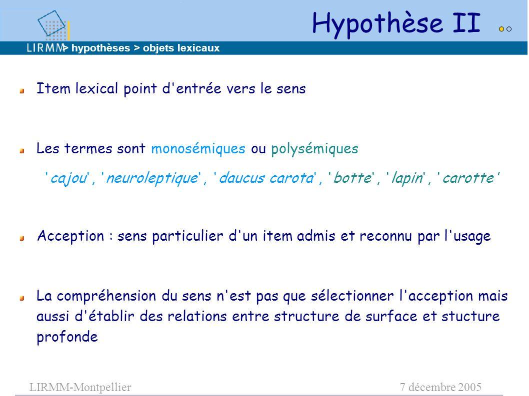 LIRMM-Montpellier7 décembre 2005 Hypothèse II Item lexical point d'entrée vers le sens Les termes sont monosémiques ou polysémiques 'cajou', 'neurolep