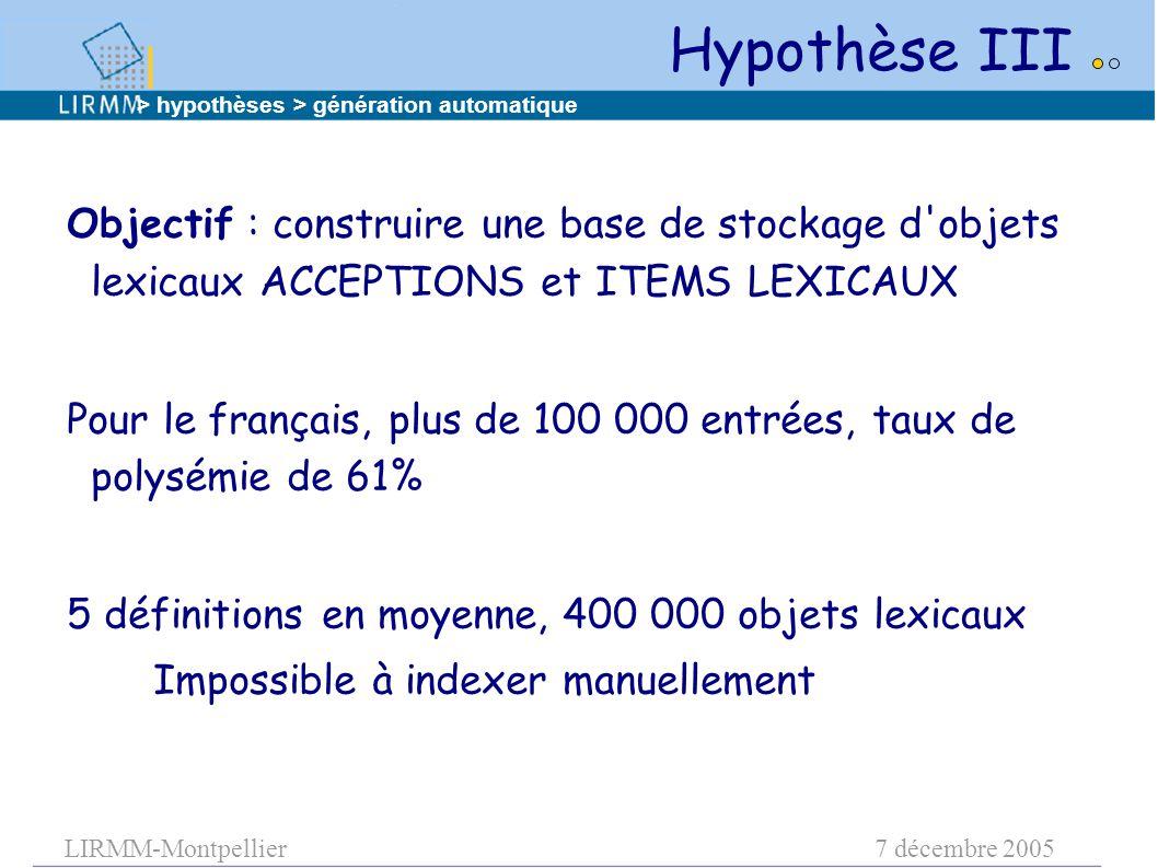 LIRMM-Montpellier7 décembre 2005 Objectif : construire une base de stockage d'objets lexicaux ACCEPTIONS et ITEMS LEXICAUX Pour le français, plus de 1