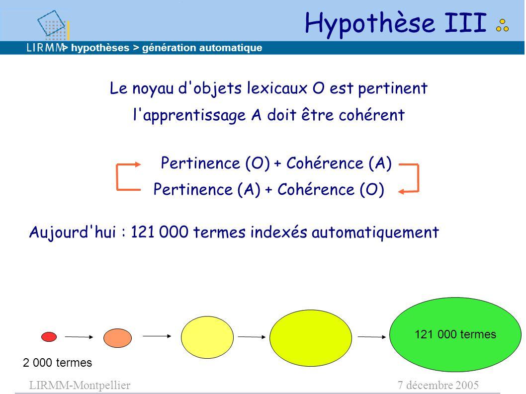 LIRMM-Montpellier7 décembre 2005 121 000 termes 2 000 termes Le noyau d objets lexicaux O est pertinent l apprentissage A doit être cohérent Pertinence (O) + Cohérence (A) Pertinence (A) + Cohérence (O) Aujourd hui : 121 000 termes indexés automatiquement Hypothèse III > hypothèses > génération automatique