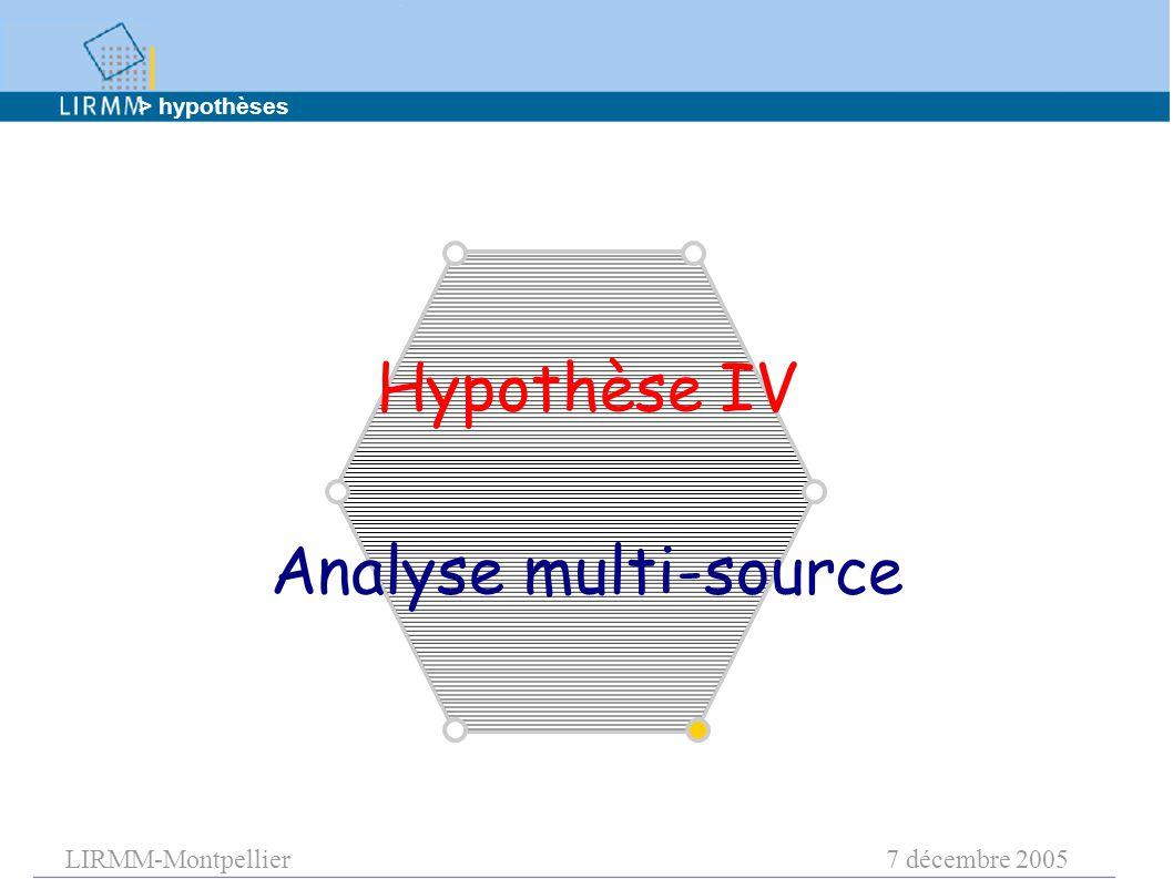 LIRMM-Montpellier7 décembre 2005 Hypothèse IV Analyse multi-source > hypothèses