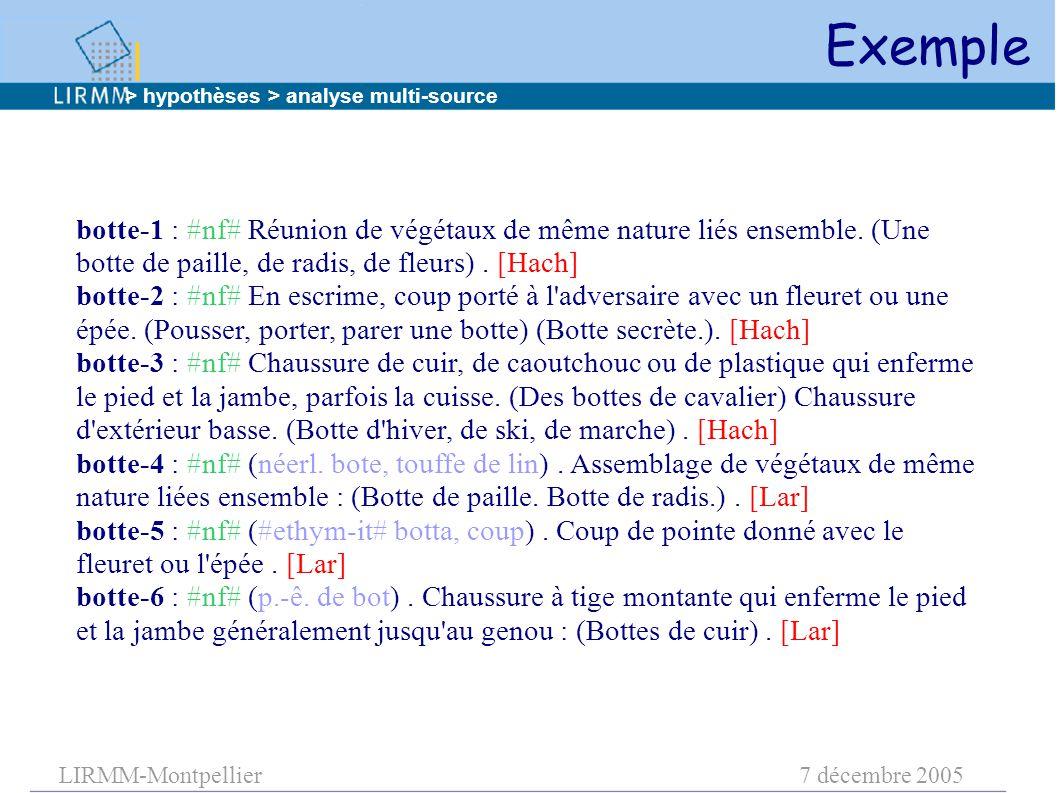LIRMM-Montpellier7 décembre 2005 botte-1 : #nf# Réunion de végétaux de même nature liés ensemble. (Une botte de paille, de radis, de fleurs). [Hach] b