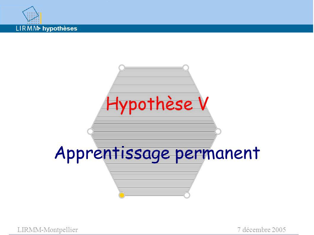 LIRMM-Montpellier7 décembre 2005 Hypothèse V Apprentissage permanent > hypothèses