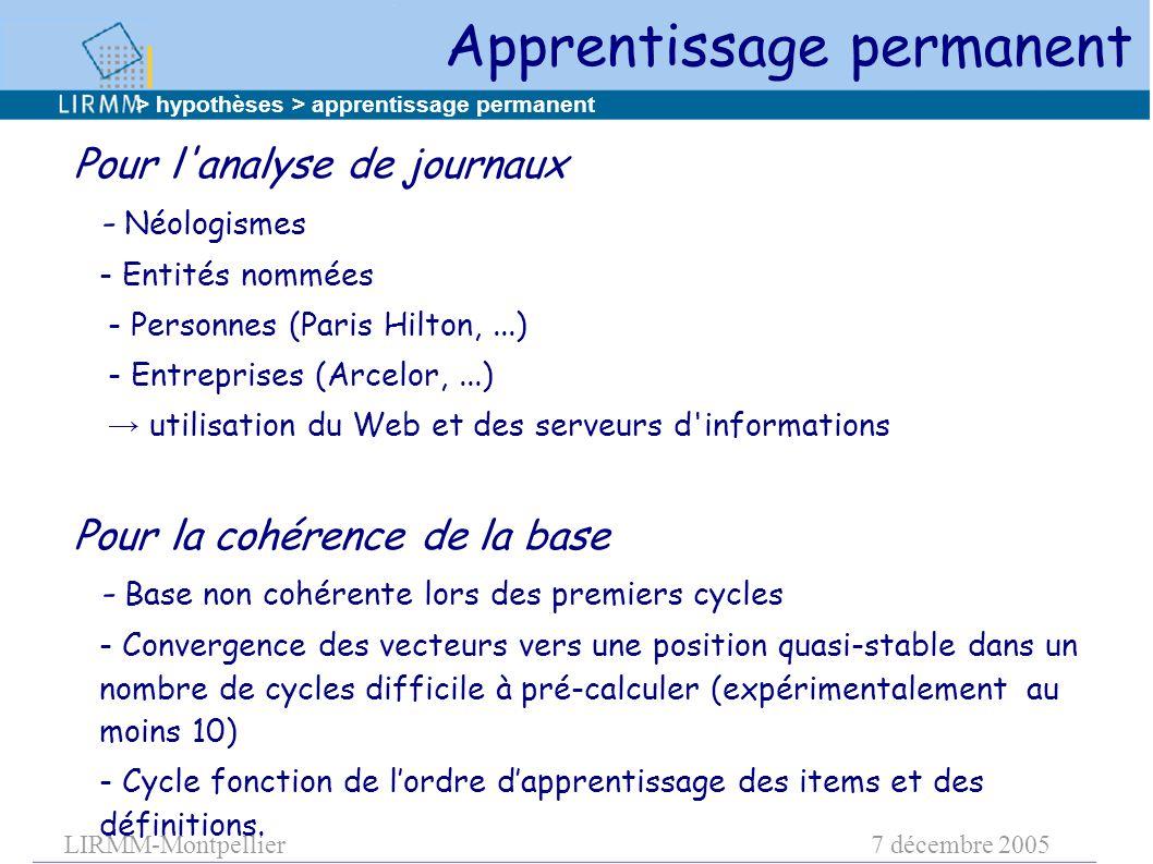 LIRMM-Montpellier7 décembre 2005 Pour l'analyse de journaux - Néologismes - Entités nommées - Personnes (Paris Hilton,...) - Entreprises (Arcelor,...)