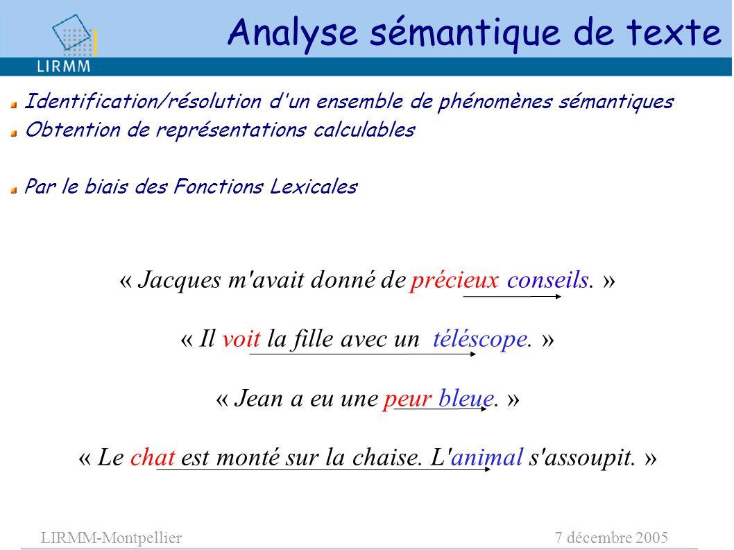 LIRMM-Montpellier7 décembre 2005 Identification/résolution d'un ensemble de phénomènes sémantiques Obtention de représentations calculables Par le bia