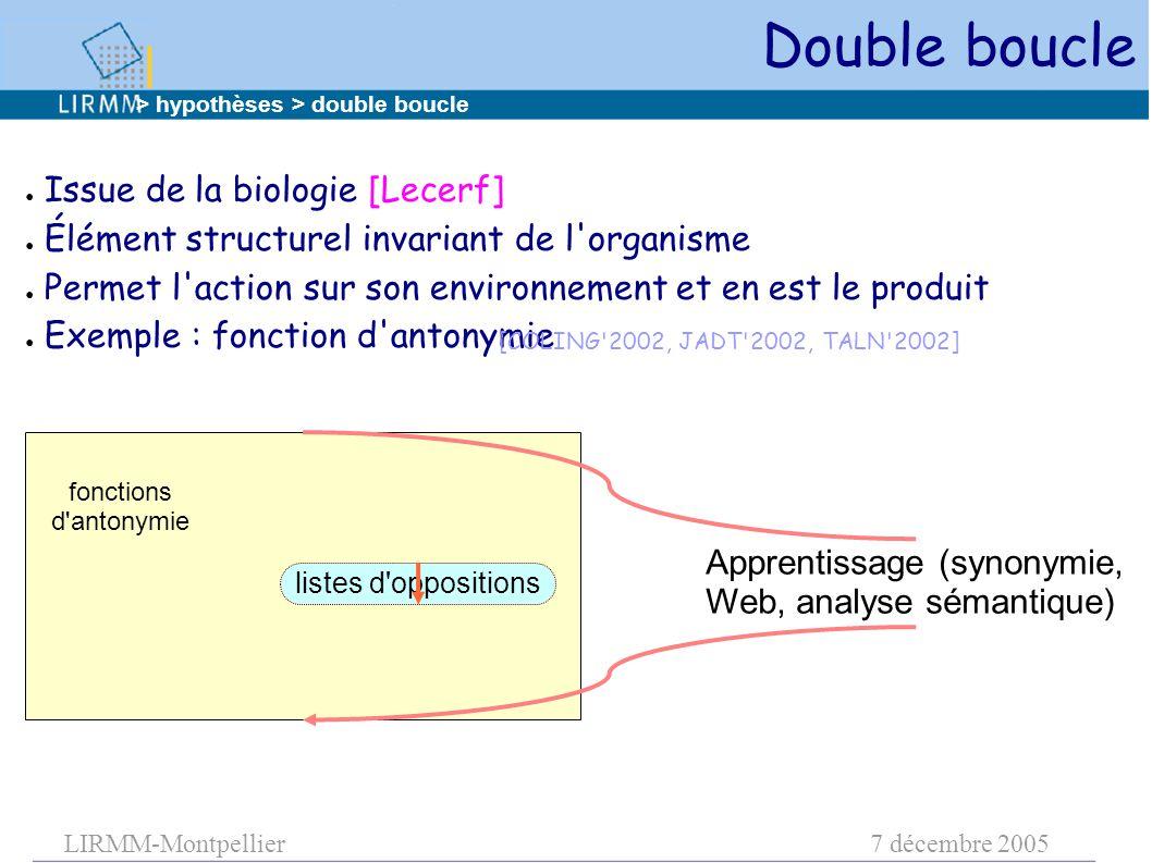 LIRMM-Montpellier7 décembre 2005 Double boucle ● Issue de la biologie [Lecerf] ● Élément structurel invariant de l'organisme ● Permet l'action sur son