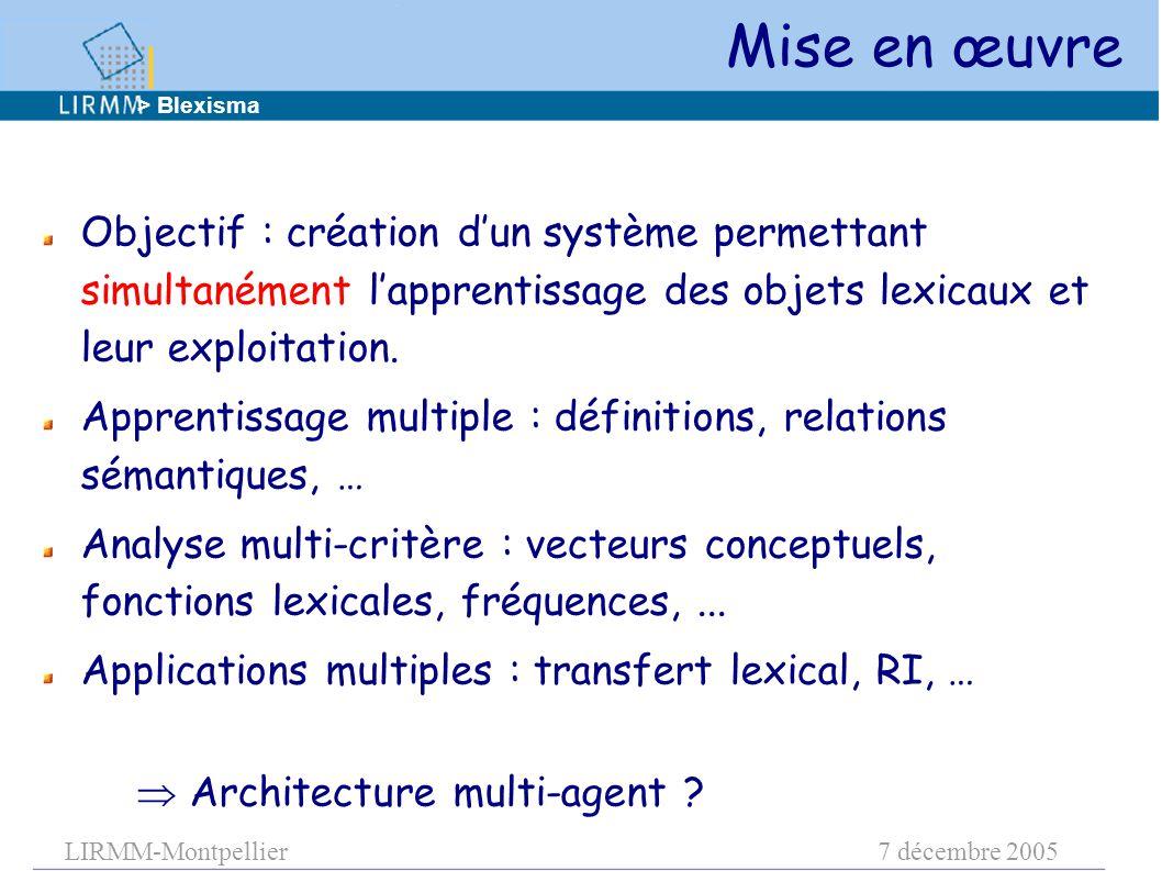 LIRMM-Montpellier7 décembre 2005 Objectif : création d'un système permettant simultanément l'apprentissage des objets lexicaux et leur exploitation. A