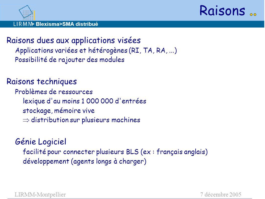 LIRMM-Montpellier7 décembre 2005 Raisons dues aux applications visées Applications variées et hétérogènes (RI, TA, RA,...) Possibilité de rajouter des