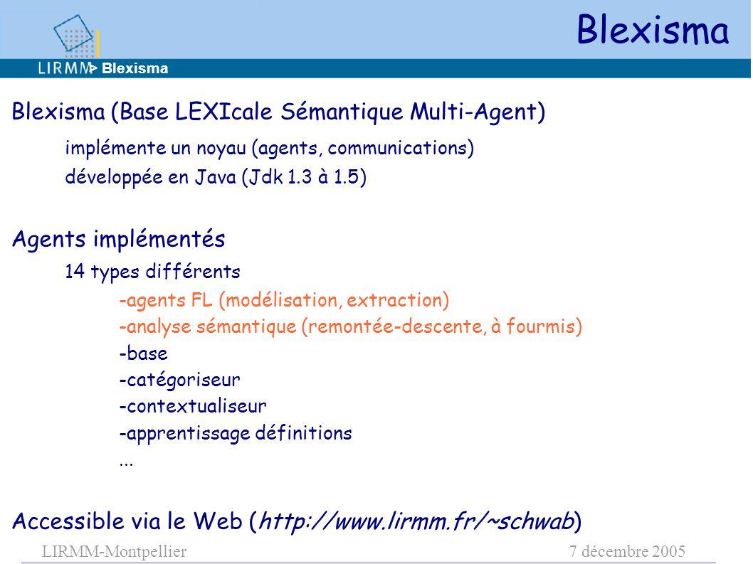LIRMM-Montpellier7 décembre 2005 Blexisma Blexisma (Base LEXIcale Sémantique Multi-Agent) implémente un noyau (agents, communications) développée en Java (Jdk 1.3 à 1.5) Agents implémentés 14 types différents -agents FL (modélisation, extraction) -analyse sémantique (remontée-descente, à fourmis) -base -catégoriseur -contextualiseur -apprentissage définitions...