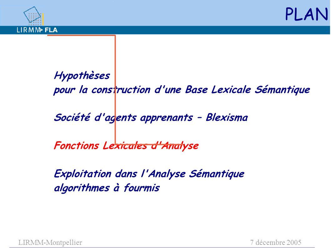 LIRMM-Montpellier7 décembre 2005 PLAN Hypothèses pour la construction d une Base Lexicale Sémantique Société d agents apprenants – Blexisma Fonctions Lexicales d Analyse Exploitation dans l Analyse Sémantique algorithmes à fourmis > FLA