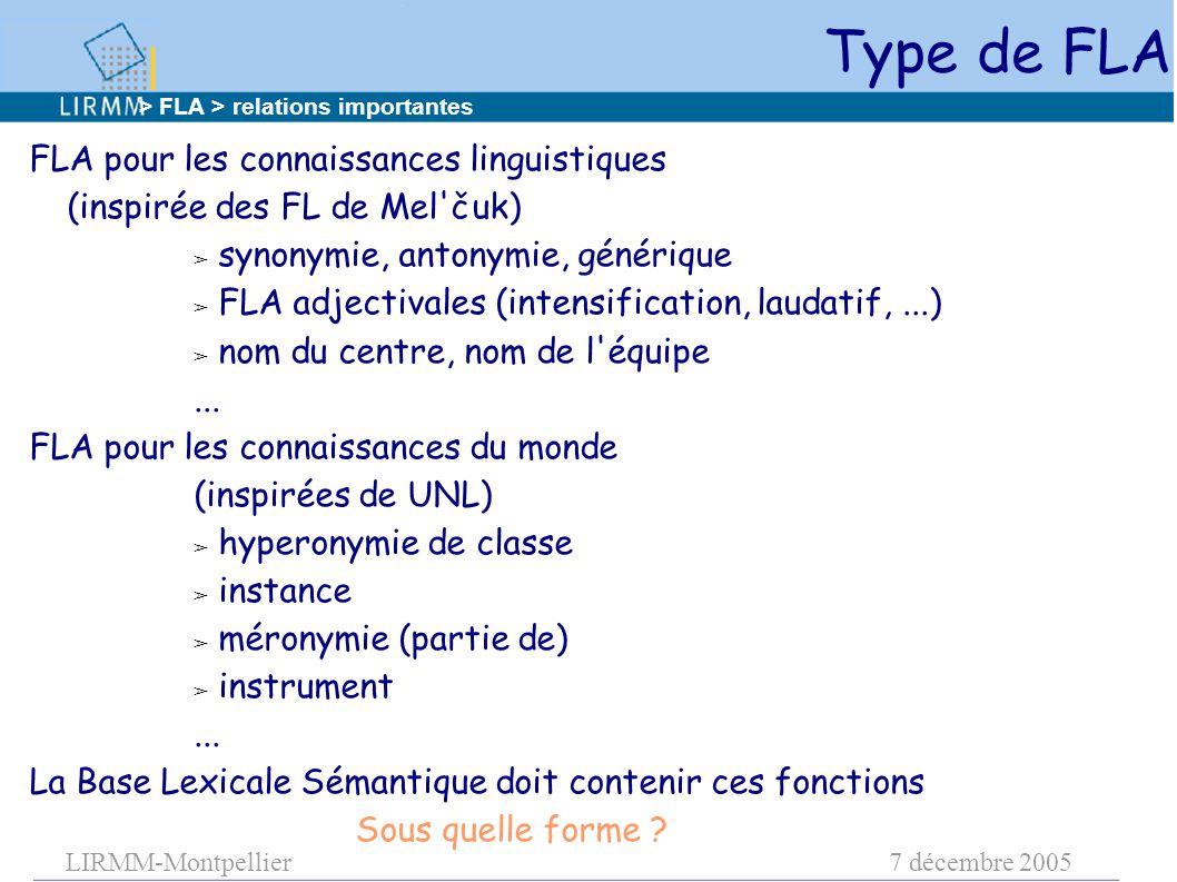 LIRMM-Montpellier7 décembre 2005 Type de FLA FLA pour les connaissances linguistiques (inspirée des FL de Mel čuk) ➢ synonymie, antonymie, générique ➢ FLA adjectivales (intensification, laudatif,...) ➢ nom du centre, nom de l équipe...