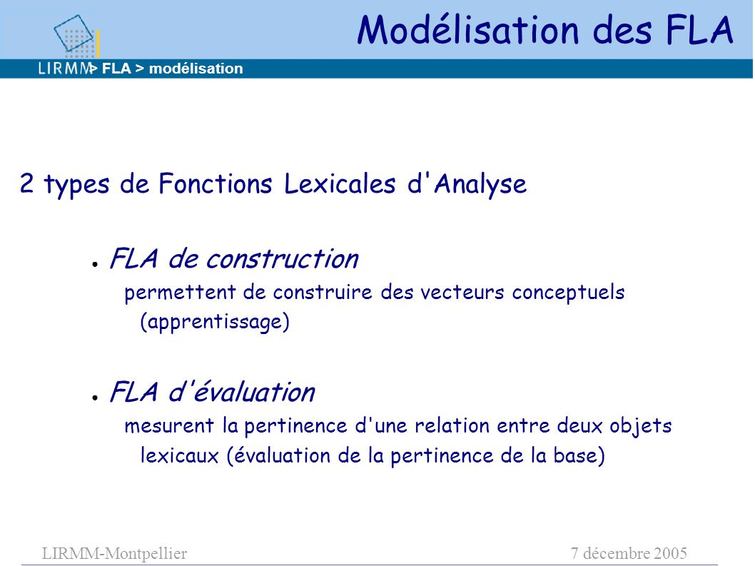 LIRMM-Montpellier7 décembre 2005 Modélisation des FLA 2 types de Fonctions Lexicales d Analyse ● FLA de construction permettent de construire des vecteurs conceptuels (apprentissage) ● FLA d évaluation mesurent la pertinence d une relation entre deux objets lexicaux (évaluation de la pertinence de la base) > FLA > modélisation