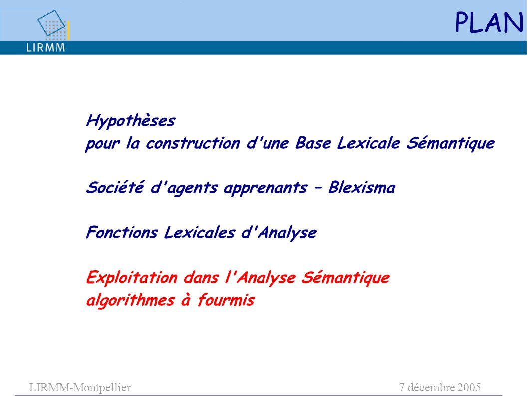 LIRMM-Montpellier7 décembre 2005 PLAN Hypothèses pour la construction d'une Base Lexicale Sémantique Société d'agents apprenants – Blexisma Fonctions