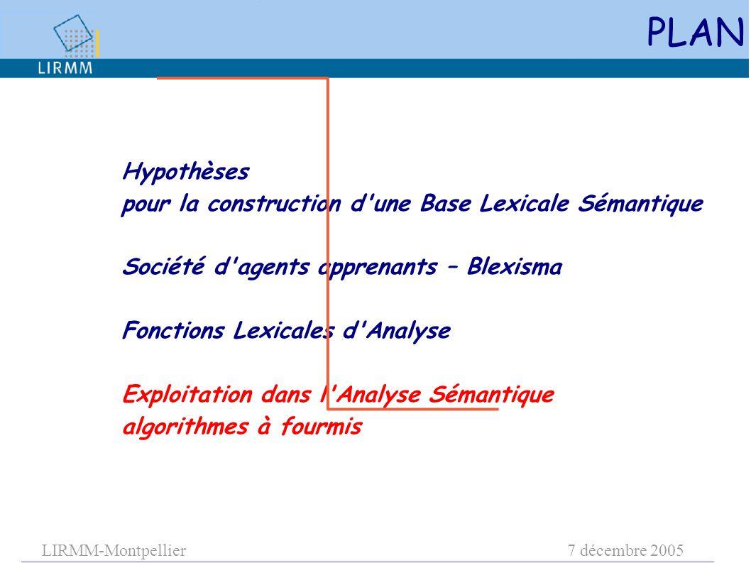 LIRMM-Montpellier7 décembre 2005 PLAN Hypothèses pour la construction d une Base Lexicale Sémantique Société d agents apprenants – Blexisma Fonctions Lexicales d Analyse Exploitation dans l Analyse Sémantique algorithmes à fourmis
