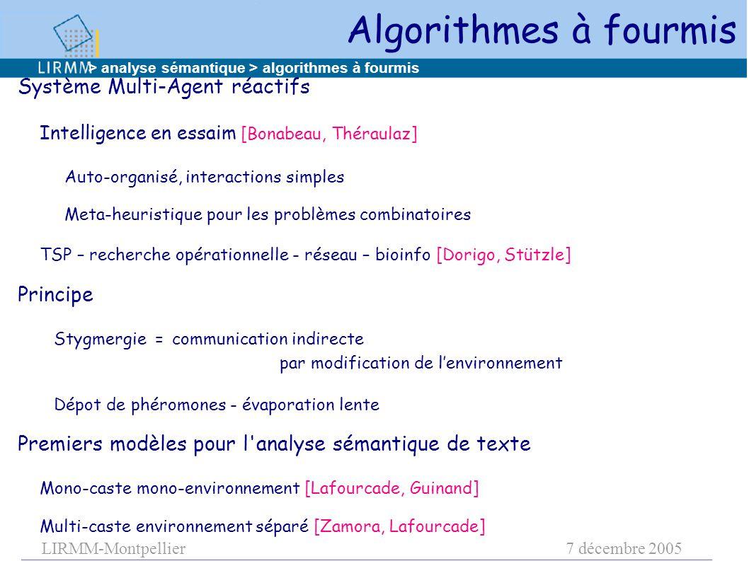 LIRMM-Montpellier7 décembre 2005 Algorithmes à fourmis Système Multi-Agent réactifs Intelligence en essaim [Bonabeau, Théraulaz] Auto-organisé, intera