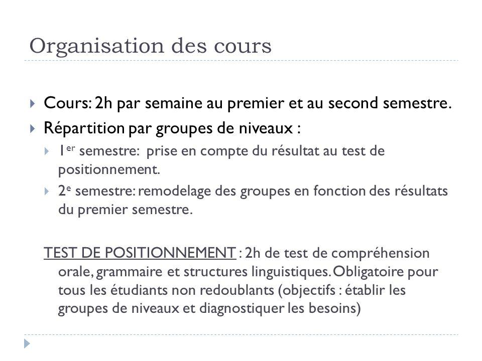 Modalités de contrôle des connaissances  1 er semestre : Contrôle Continu (compréhension orale + grammaire) et Contrôle Terminal (compréhension écrite + expression écrite).
