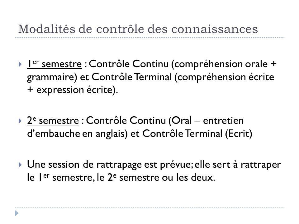 Modalités de contrôle des connaissances  1 er semestre : Contrôle Continu (compréhension orale + grammaire) et Contrôle Terminal (compréhension écrit