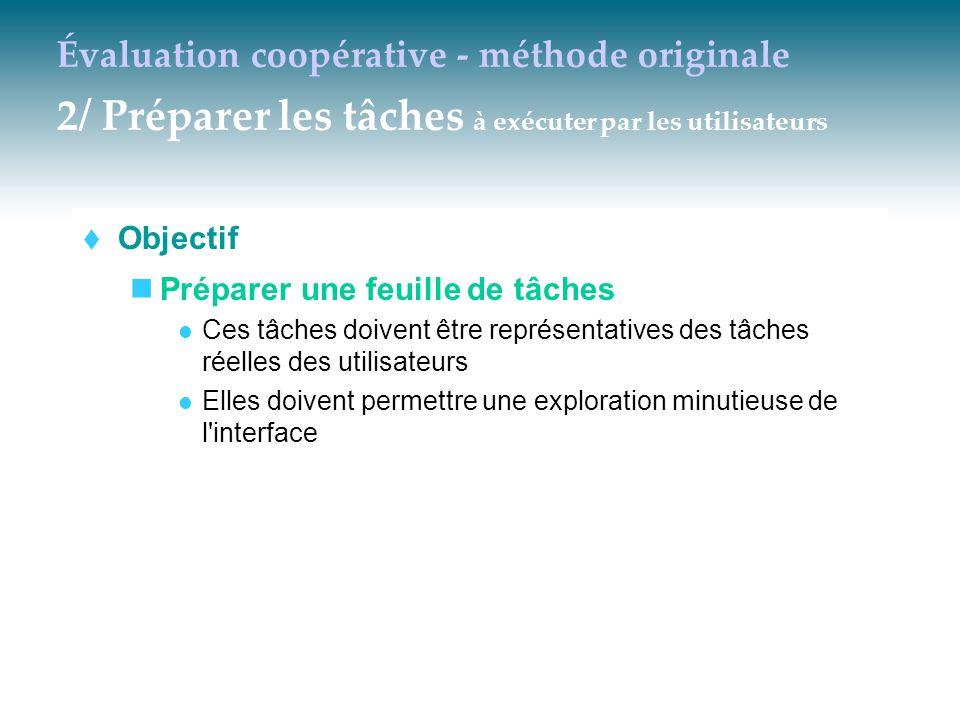 Évaluation coopérative - méthode originale 2/ Préparer les tâches à exécuter par les utilisateurs  Objectif Préparer une feuille de tâches Ces tâches