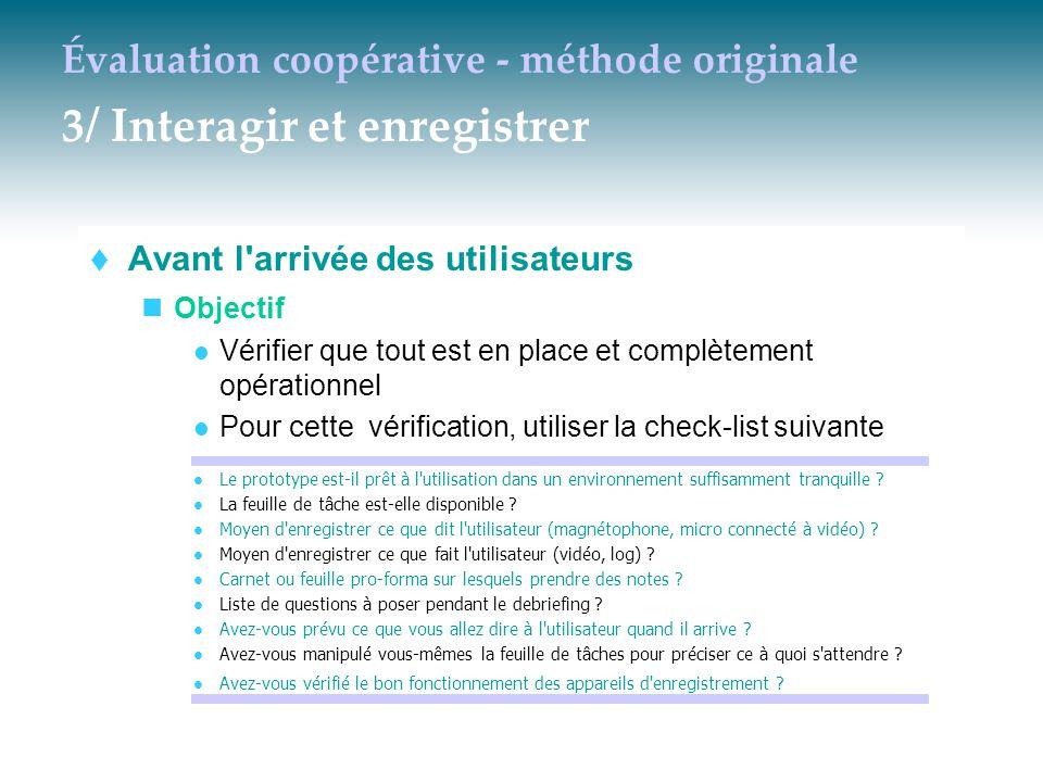 Évaluation coopérative - méthode originale 3/ Interagir et enregistrer  Avant l'arrivée des utilisateurs Objectif Vérifier que tout est en place et c