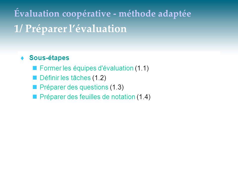 Évaluation coopérative - méthode adaptée 1/ Préparer l'évaluation  Sous-étapes Former les équipes d'évaluation (1.1) Définir les tâches (1.2) Prépare
