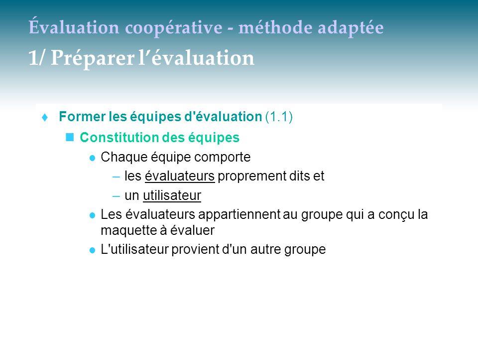 Évaluation coopérative - méthode adaptée 1/ Préparer l'évaluation  Former les équipes d'évaluation (1.1) Constitution des équipes Chaque équipe compo