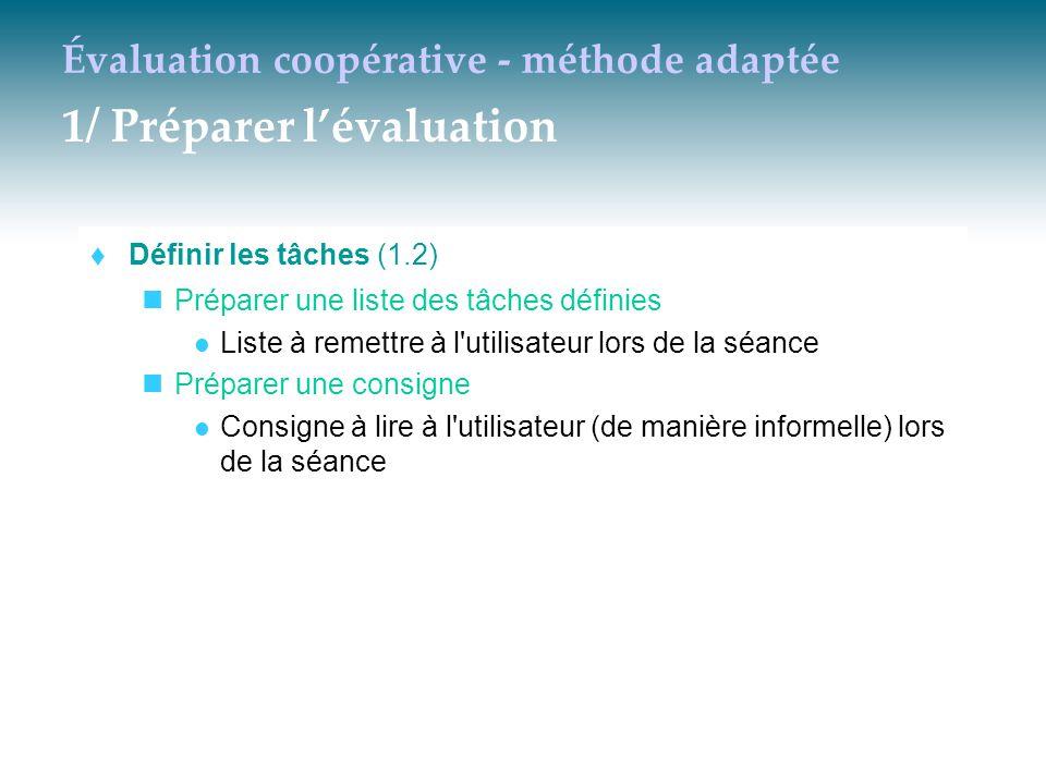 Évaluation coopérative - méthode adaptée 1/ Préparer l'évaluation  Définir les tâches (1.2) Préparer une liste des tâches définies Liste à remettre à