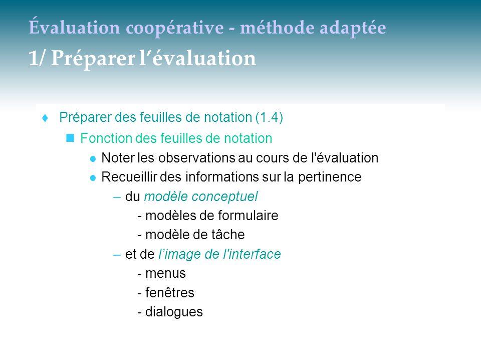 Évaluation coopérative - méthode adaptée 1/ Préparer l'évaluation  Préparer des feuilles de notation (1.4) Fonction des feuilles de notation Noter le