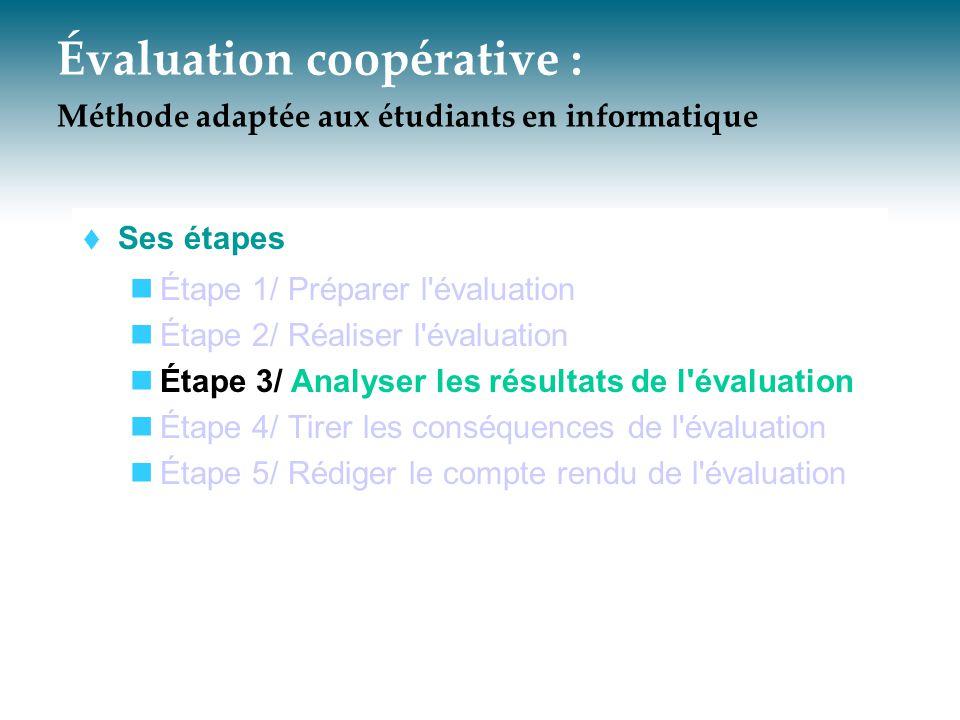 Évaluation coopérative : Méthode adaptée aux étudiants en informatique  Ses étapes Étape 1/ Préparer l'évaluation Étape 2/ Réaliser l'évaluation Étap