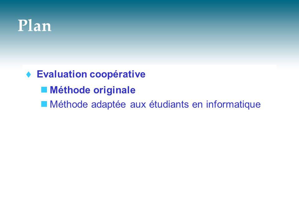 Évaluation coopérative - méthode adaptée 5/ Rédiger les résultats de l'évaluation  Objectif Rendre compte de l évaluation dans le rapport d'évaluation Présenter l état de la maquette avant l évaluation Présenter les résultats de l évaluation Présenter les modifications à apporter à la maquette à l issue de l évaluation Présenter le nouvel état de la maquette