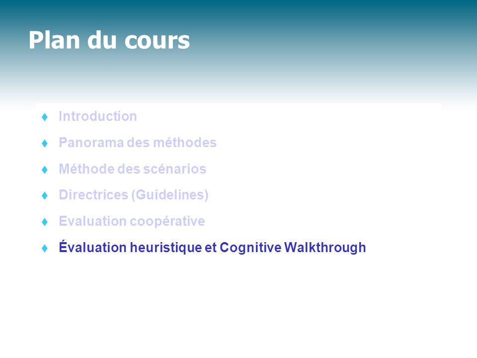 Plan du cours  Introduction  Panorama des méthodes  Méthode des scénarios  Directrices (Guidelines)  Evaluation coopérative  Évaluation heuristi