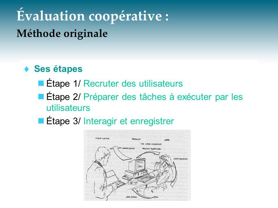 Évaluation coopérative - méthode originale 3/ Interagir et enregistrer  Sous-étapes Avant l arrivée des utilisateurs À l arrivée des utilisateurs Pendant la réalisation des tâches «Debriefing»