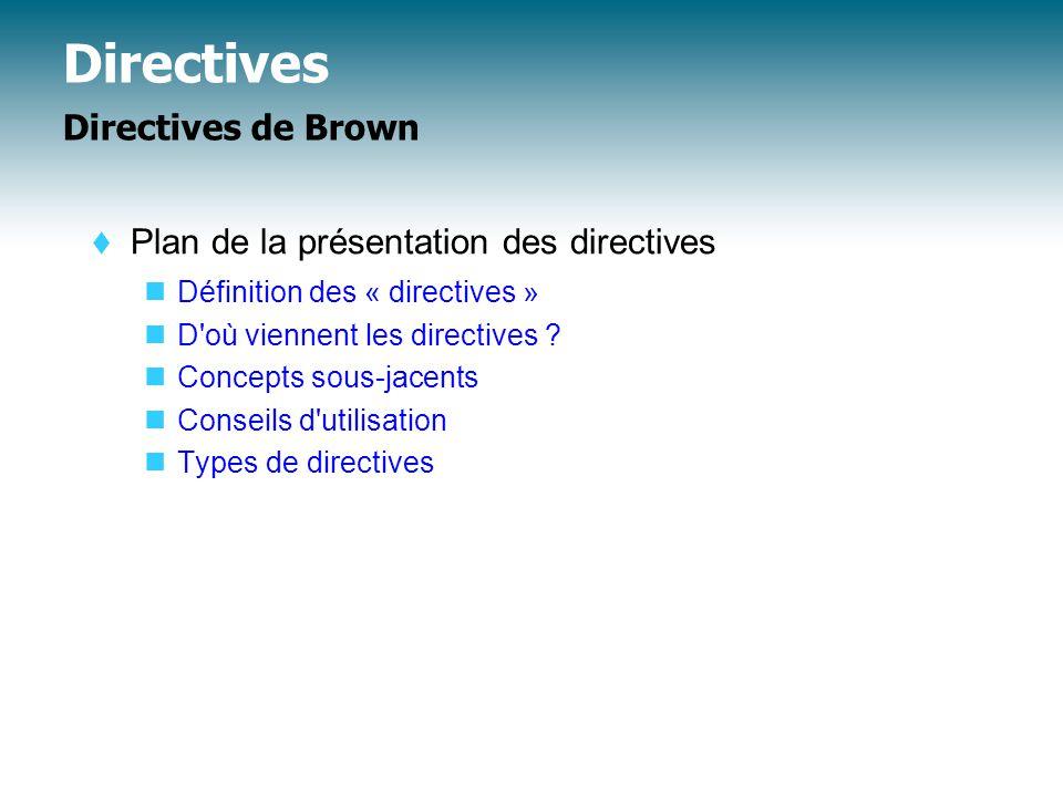 Directives Directives de Brown  Plan de la présentation des directives Définition des « directives » D où viennent les directives .