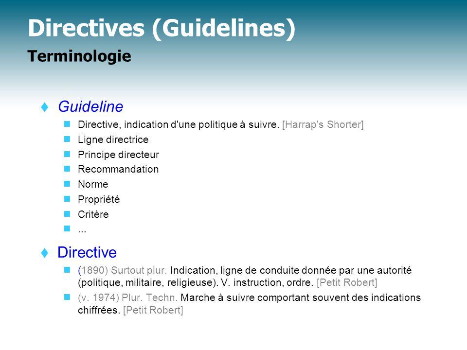 Directives Exemples nombreux  Rappel (cf.cours L.