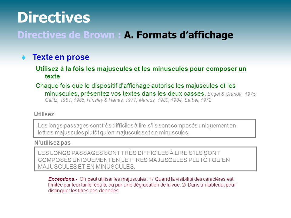 Directives Directives de Brown : A.