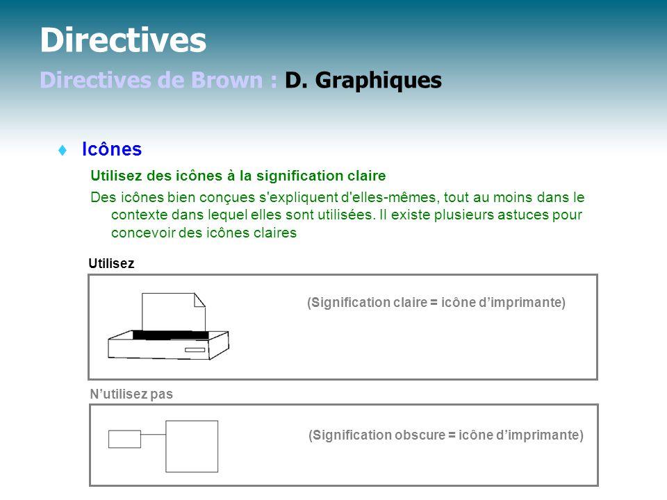 Directives Directives de Brown : D.