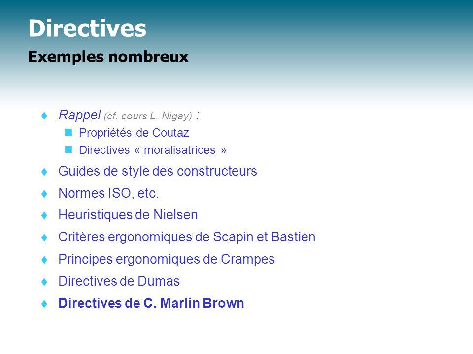 Directives Directives de Brown  Types de directives A.