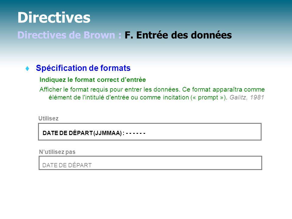 Directives Directives de Brown : F.