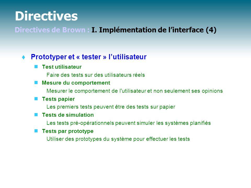 Directives Directives de Brown : I.