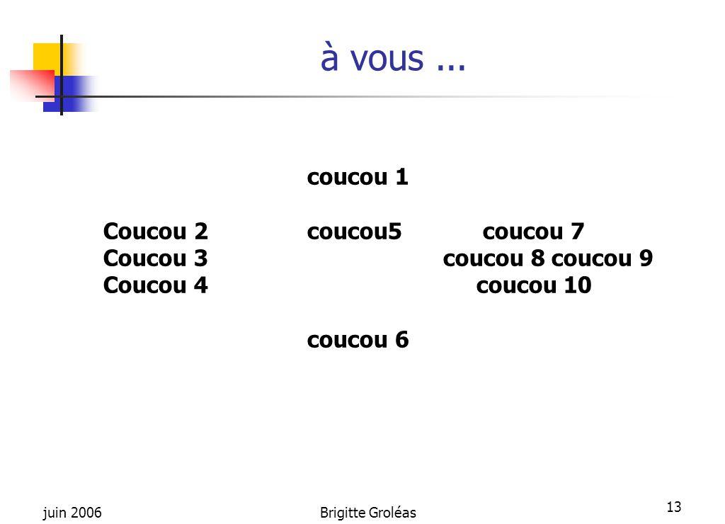 juin 2006Brigitte Groléas 13 à vous... coucou 1 Coucou 2coucou5 coucou 7 Coucou 3coucou 8 coucou 9 Coucou 4 coucou 10 coucou 6