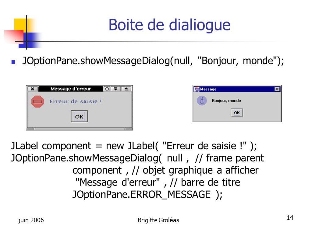 juin 2006Brigitte Groléas 14 Boite de dialiogue JOptionPane.showMessageDialog(null,