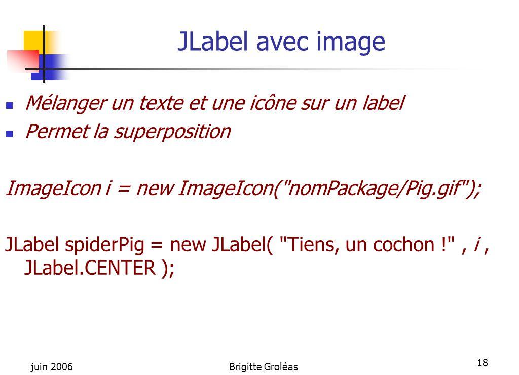 juin 2006Brigitte Groléas 18 JLabel avec image Mélanger un texte et une icône sur un label Permet la superposition ImageIcon i = new ImageIcon(