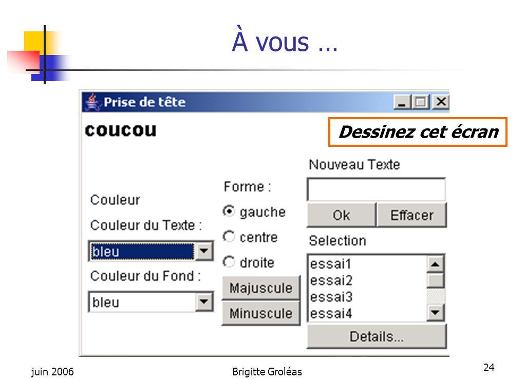 juin 2006Brigitte Groléas 24 À vous … Dessinez cet écran