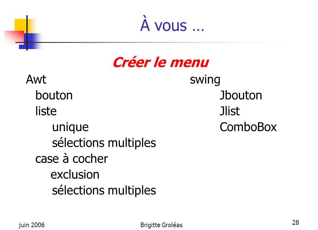 juin 2006Brigitte Groléas 28 À vous … Créer le menu Awtswing boutonJbouton listeJlist uniqueComboBox sélections multiples case à cocher exclusion séle