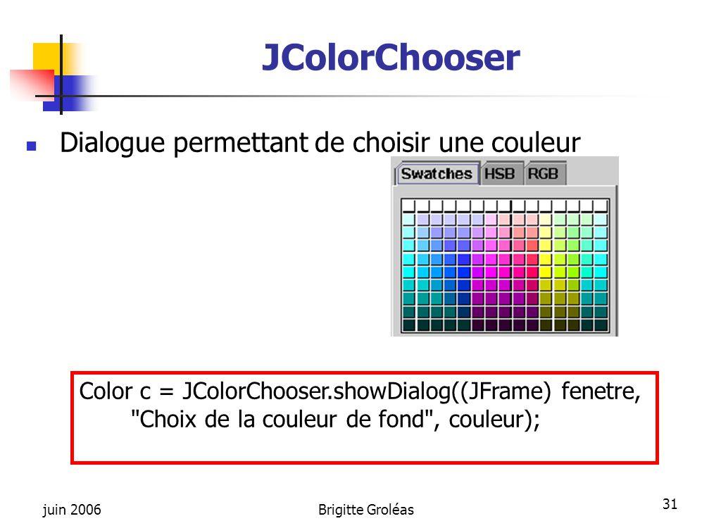juin 2006Brigitte Groléas 31 JColorChooser Dialogue permettant de choisir une couleur Color c = JColorChooser.showDialog((JFrame) fenetre,