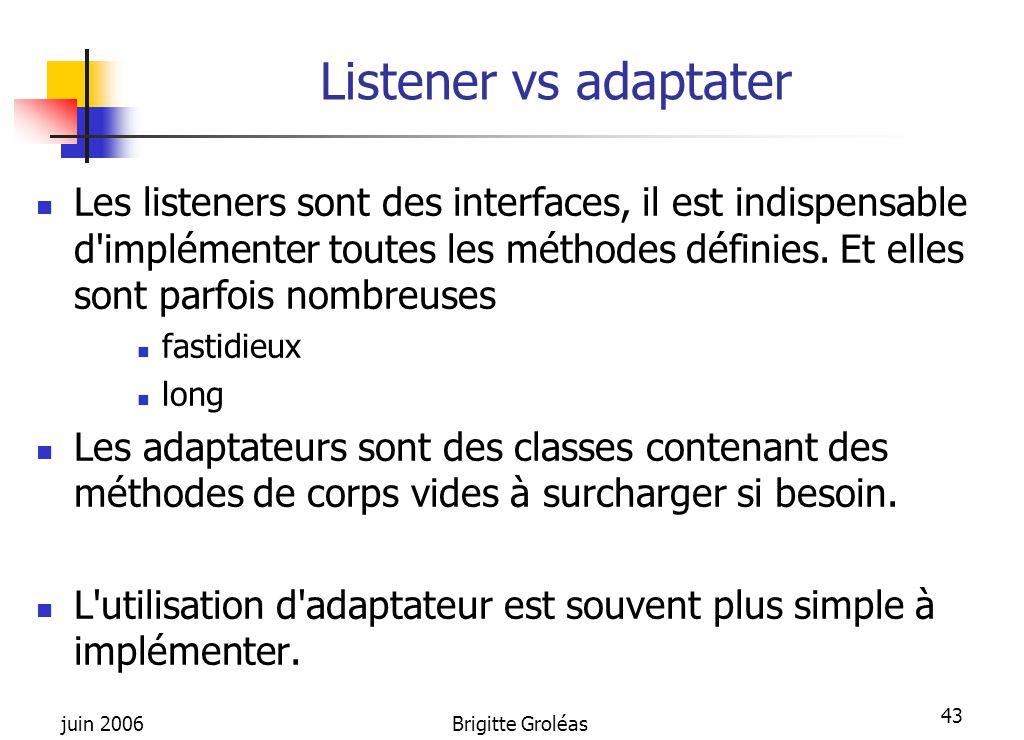 juin 2006Brigitte Groléas 43 Listener vs adaptater Les listeners sont des interfaces, il est indispensable d'implémenter toutes les méthodes définies.