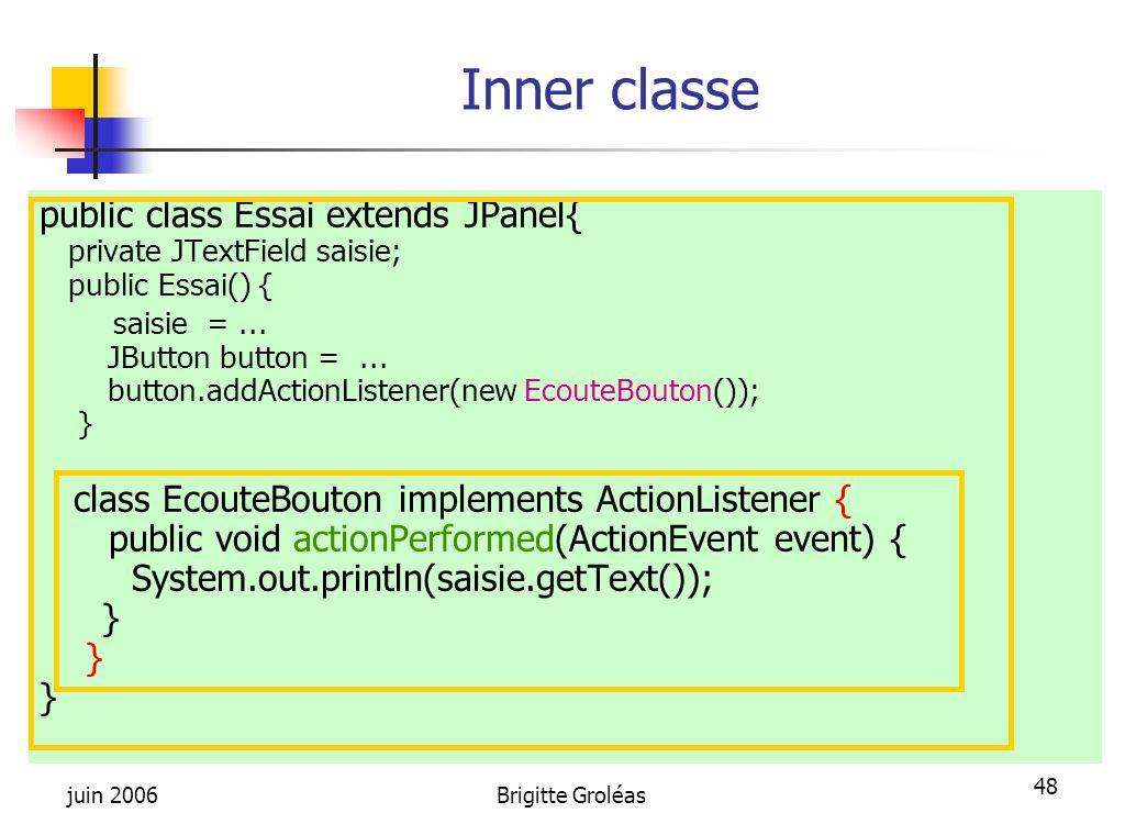 juin 2006Brigitte Groléas 48 Inner classe public class Essai extends JPanel{ private JTextField saisie; public Essai() { saisie =... JButton button =.