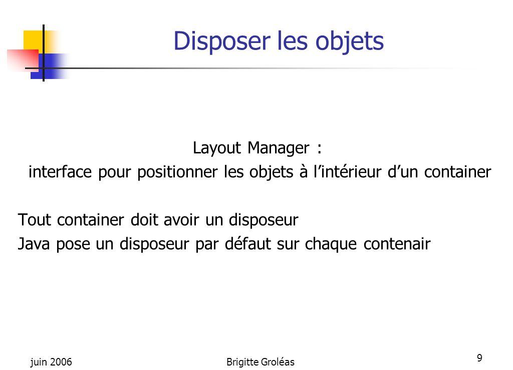 juin 2006Brigitte Groléas 9 Disposer les objets Layout Manager : interface pour positionner les objets à l'intérieur d'un container Tout container doi