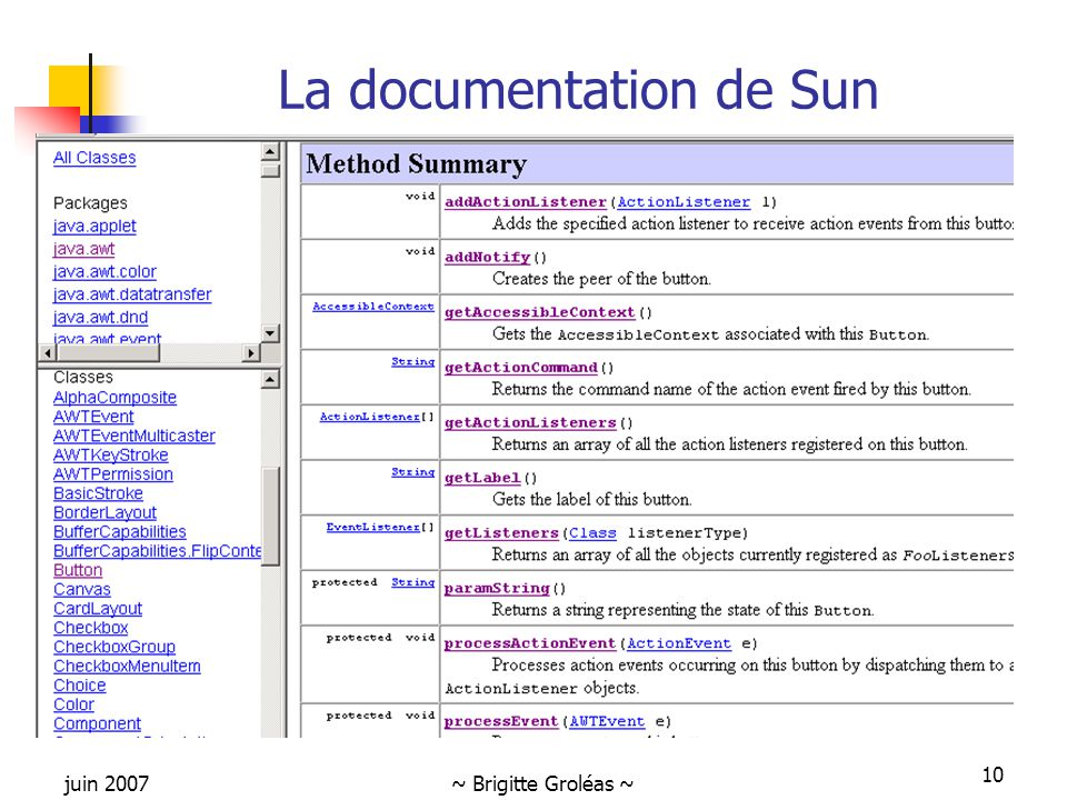 juin 2007~ Brigitte Groléas ~ 10 La documentation de Sun